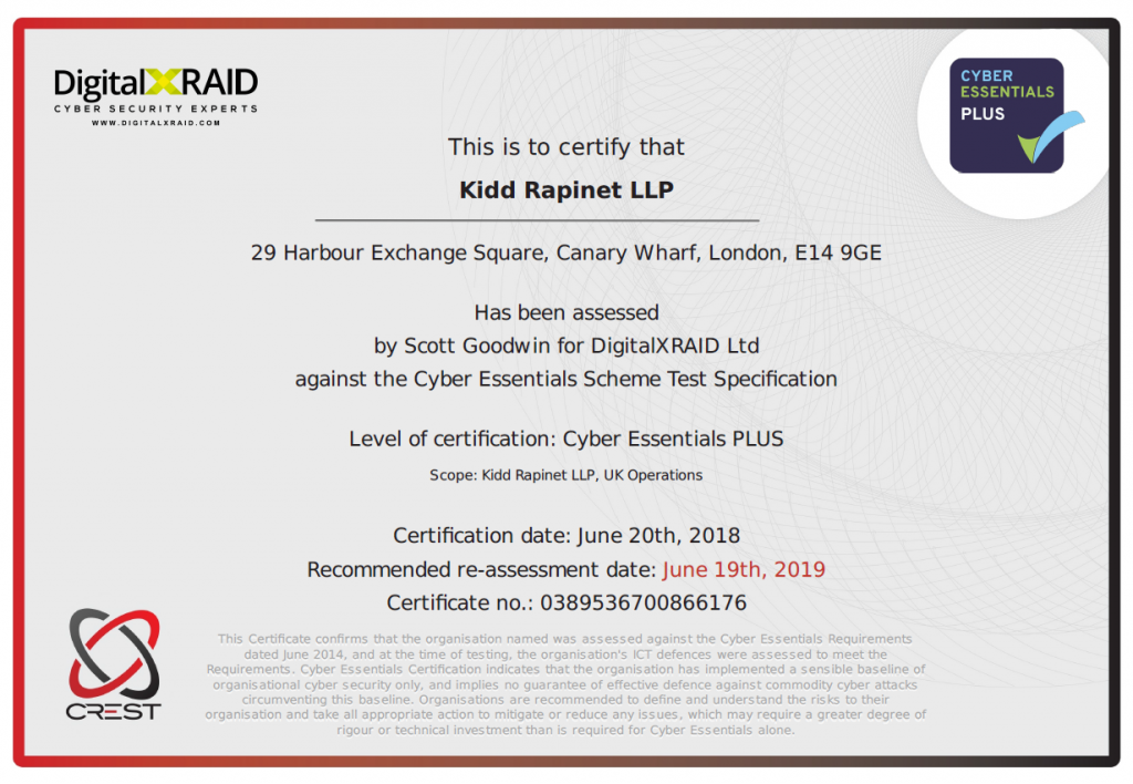cyber essentials plus certificate