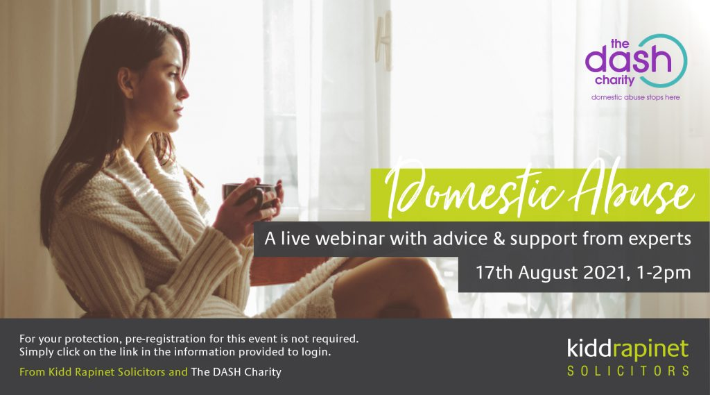 Domestic Abuse invitation with lady sipping coffee